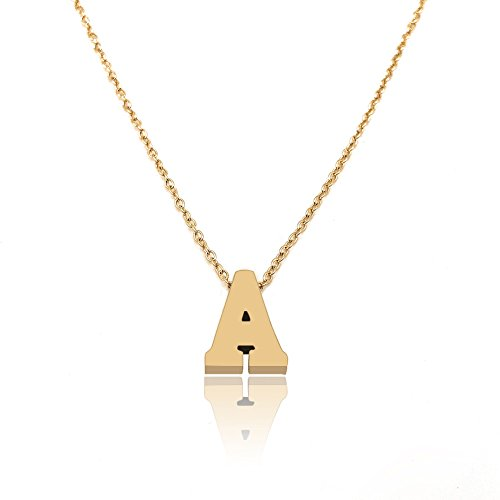 LANG XUAN His & Hers A-Z Letter Pendant Necklace Gold Minimalist Choker Jewelry for Women Gift