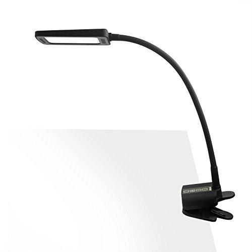 TROND Halo C Task Lamp, Eye-Care LED Clamp Table Light (11W, 5 Adjustable Color Temperatures, 5-Level Dimmer, 30-Minute Timer, USB Charging Port, Flexible Gooseneck, Flicker-Free), Black