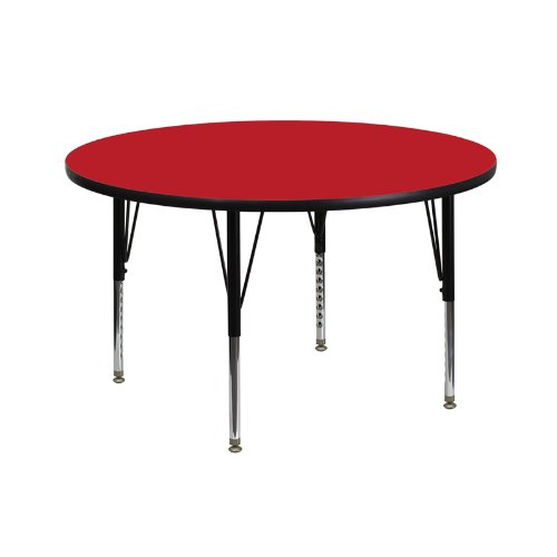 UPC 847254025287, Flash Furniture XU-A42-RND-RED-H-P-GG Round Activity Table with Red Thick High Pressure Laminate Top And Height Adjustable Pre-School Legs