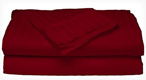 Deluxe Home 4-Piece Bed Sheet Set - Dobby Stripe - Microfiber - (Twin, Burgundy) - Red Stripe Pillowcase Set