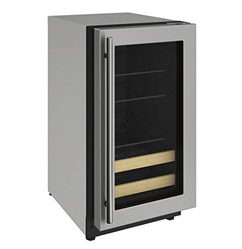 U-Line U2218BEVS00A 2000 Series 18 Inch 3.4 cu. ft. Capacity Built In Compact Beverage Center with Reversible Door, in Stainless Steel