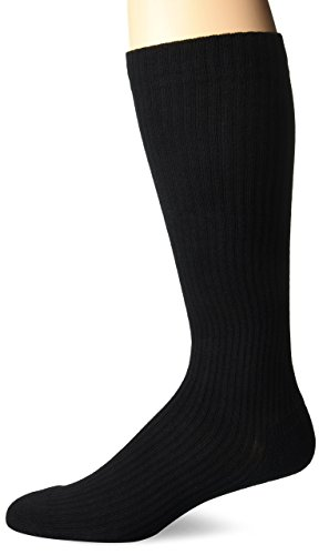 (MD USA Ribbed Cotton Compression Socks with Cushion Soles, Black, Large)