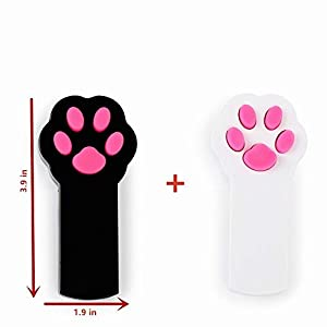 Runfish Laser Cat Toys, Pet Cat Dog Catch The LED Light Pointer Interactive Toys Scratching Training Tool Red Pot Exercise Chaser Toy 2 Pack, Black + White 65