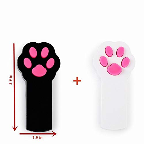 Runfish Laser Cat Toys, Pet Cat Dog Catch the LED Light Pointer Interactive Toys Scratching Training Tool Red Pot Exercise Chaser Toy 2 pack, Black + White