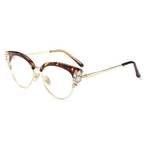 Women Cat Eye Rhinestone Glasses Metal Frame Luxury Eyeglasses Female Fashion (Leopard) -