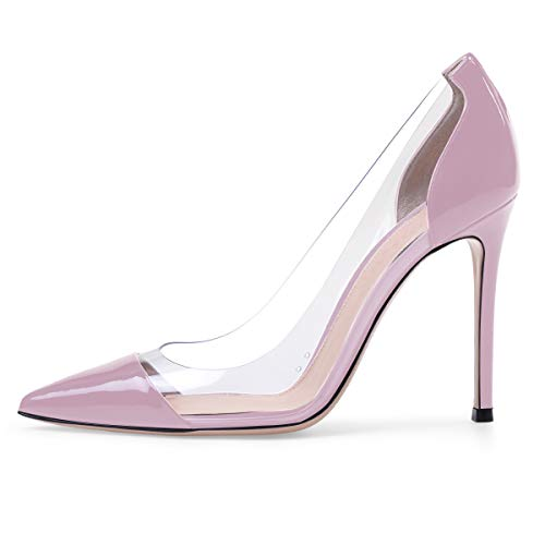 Eldof Women's 100mm Pointed Toe Transparent High Heels Pumps Party Wedding Dress Shoes Violet US5.5 ()