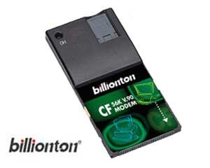 Billionton CompactFlash CF 56K v.90 Modem plus PCMCIA Adapter (56k Cf Modem Card)