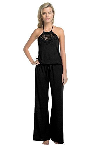 Lucky Brand Women's Natural Fever Jumpsuit Swim Cover Up Black XS/S