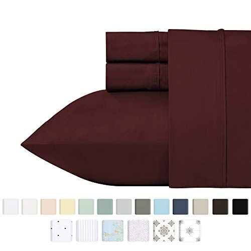 400 Thread Count 100% Cotton Sheet Set, Wine Red Queen Size Sheets, Highest Quality Long-staple Combed Pure Natural Cotton Bed Sheets For Bed, Soft Sateen Sheets Fits Mattress Upto 18 Deep Pocket