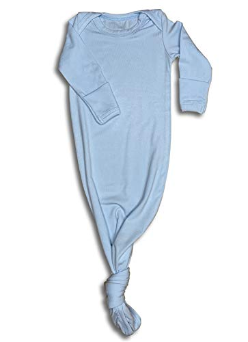 (Baby Gown Newborn, Knotted Infant Sleeper for Baby Girl and Boy in a Canvas Bag (Baby Blue, Newborn))
