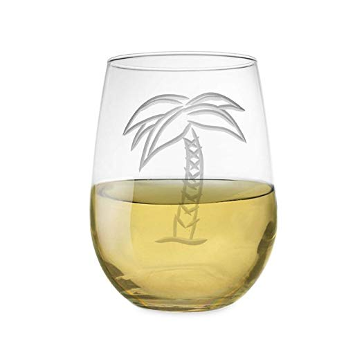 Chic Tropical Style Palm Tree Stemless Wine Glass