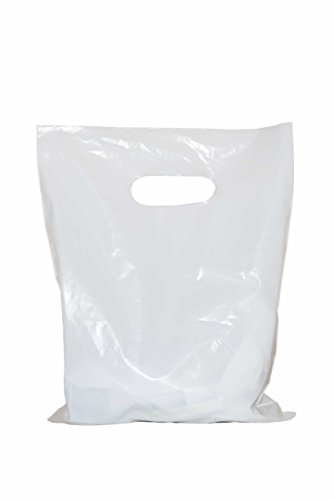 - Merchandise bags 12x15 with handles: ACME Bag Bros 100 large glossy white merchandise bags, retail shopping bags with handles (die-cut), 12