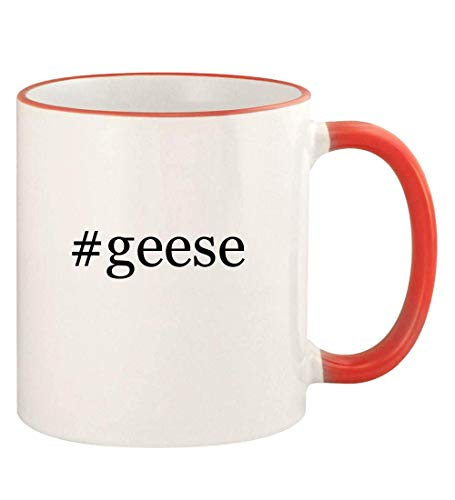 #geese - 11oz Hashtag Colored Rim and Handle Coffee Mug, Red
