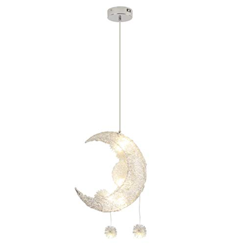 SOUTHPO Modern Moon Pendant Light Lamp Fixture Aluminum Chandeliers for Dining Rooms Girls Bedrooms Children Room Creative LED Star Adjustable Hanging Lights, 5 G4 Max 25W Warm White Light, Silver