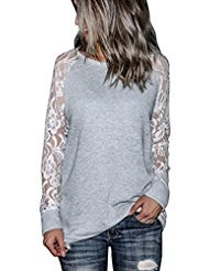 Orangeskycn Fashion Womens Casual Lace Long Sleeve Pullover Crop O-Neck T-Shirt Blouse Tops (Gray, XL) (Mossimo 3/4 Sleeve Sweater)