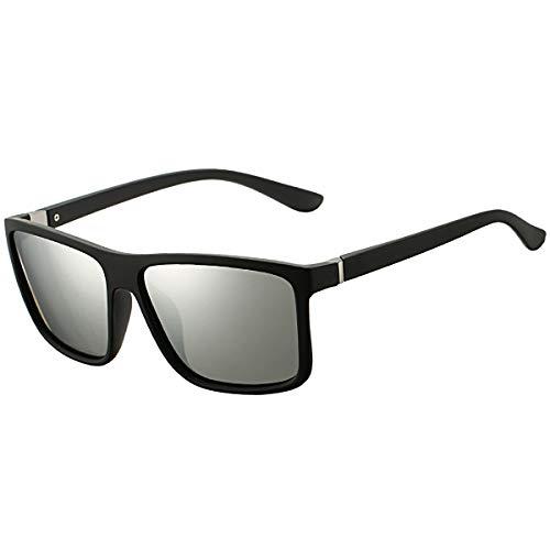 DeBuff Mens Square Polarized Sunglasses Stylish Driving Sun Glasses - TAC, UV400 (Matte Black/Silver)