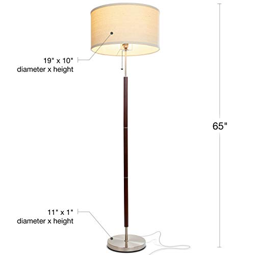 Brightech Carter LED Mid Century Modern Floor Lamp - Contemporary Living Room Standing Light - Tall Pole, Drum Shade Lamp with Walnut Wood Finish by Brightech (Image #1)
