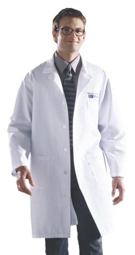Medline 83044QHWL Unisex Knee Length Lab Coats, Large, White -