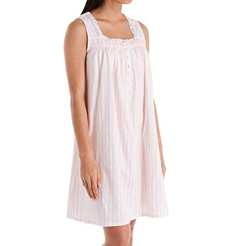 Eileen West Cotton Knit Nightgown - Sleeveless Waltz Length in Citrus Stripe (White/Orange/Pink Stripe, Medium)