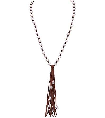 PearlyPearls Long Pearl Necklace with Leather Cord Tassel Vintage Jewelry for Women 39'' Light Brown