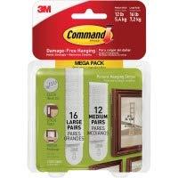 3M 1720928ES Picture Hanging Strips, 3 lb or 4 lb Cap/Set, 28/PK, White