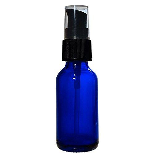Cream Pump Bottle ((12 Pack) 1 oz. Cobalt Blue Boston Round with Black Cream Pump (20/400))