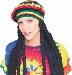 Wig Jamaican (Adult Rasta Dreadlocks Costume Wig with Tam Hat)