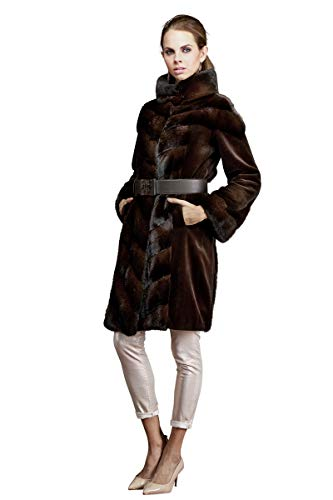 Anamoda Women's Espresso Dyed Sheared Mink and Cross Mid-Length Fur Coat Brown