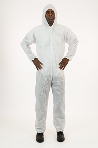 International Enviroguard White SMS Coverall with Attached Hood, Elastic Wrist & Ankle, 25 - Space Jumpsuit Crawl