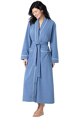 PajamaGram Soft Cotton Womens Robes - Long Bathrobes for Women, Blue, S / 4-6