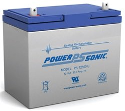 Powersonic PS-12550 - 12 Volt/55 Amp Hour Sealed Lead Acid Battery with Nut-Bolt (Cyclic Amp)