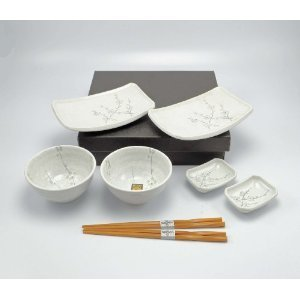 Japanese Dining Set - Happy Sales 8 Piece Japanese Cherry Blossom Dinnerware Set, White