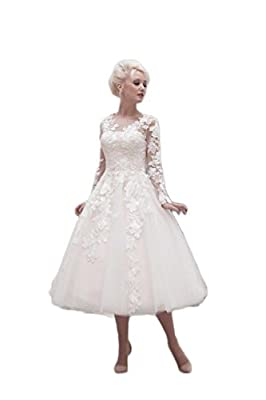 Fabgown Women's V Neck Lace Appliques Sleeves Tea Length Wedding Dress