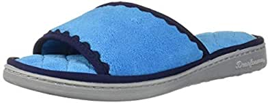 Dearfoams Womens Microfiber Terry Slide Blue Size: Medium