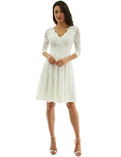 PattyBoutik Women 3/4 Sleeve Lace Overlay Fit and Flare Dress (Ivory Large)