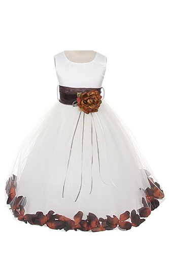 Satin Bodice Communion Flower Girl Pageant Petal Dress: Ivory/Chocolate - (Ivory Chocolates)