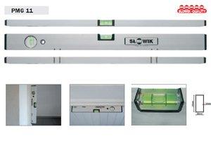 Magnetwasserwaage (12 starke Magnete) - Aluminium eloxiert - Lä nge: 200cm / 2m - PMG11Z DEWEPRO / Slowik