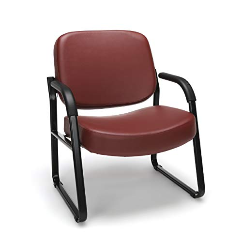 OFM Core Collection Big and Tall Guest and Reception Chair with Arms, Microbial/Anti-Bacterial Vinyl, in Wine (407-VAM-603)