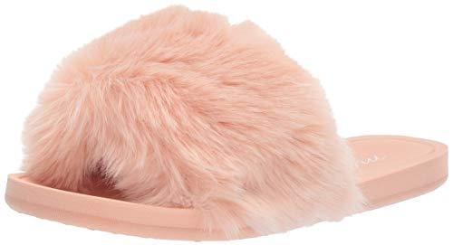 Amazon Brand - Mae Women's Marabou One-Strap Slipper, Blush, 9 B US