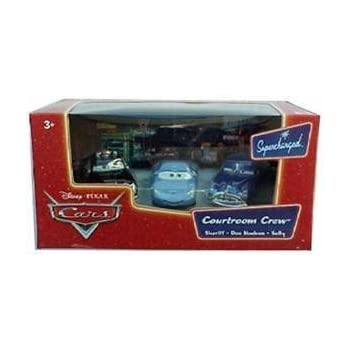Doc /& Sally Pixar CARS Movie Moments 1:55 Die Cast Figure 3-Pack Series 2 Supercharged Courtroom Crew with Sheriff Disney