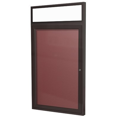 Ghent 36'' x 24'' 1 Door Enclosed Flannel Letter Board, Bronze Aluminum Frame with Headliner (PBB2-BG) by Ghent