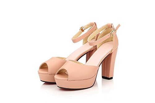 VogueZone009 Womens Open Peep Toe High Heel Chunky Heels PU Soft Material Solid Sandals with Metal Snap Pink jVUJxct