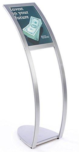 Metal Curved Holder Sign (Displays2go Floor-Standing Curved Pedestal Sign Holder for 11 x 17 Signage - Silver (CMP1117C))