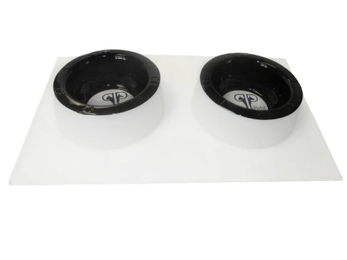 Platinum Pets 2 Cup Clear Silicone Bowl Mold Mat with Two Rimmed Bowls, Black