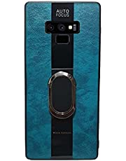 Samsung Galaxy Note 9 Compatible with Magnetic Back Magnet Shockproof Drop Protection Kickstand Cover with Stand and Ring for Samsung Galaxy Note 9 Hard Tough Leather Cool (اخضر)