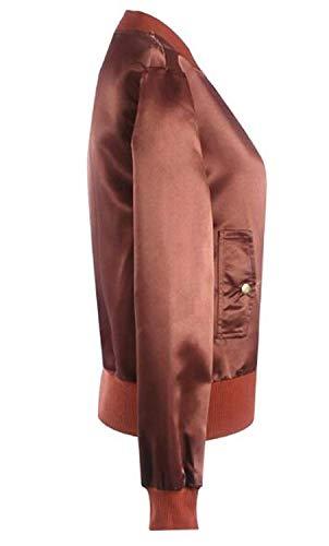 Primaverile Mode Maniche Libero Tempo Di Autunno Giacca Marca Puro Lunghe Cerniera Con Coat Bomber Colore Pilot Coffee Giorno Donna Fashion vwq5Bfn6nI