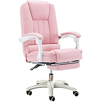 LJFYXZ Home computer chair, Lifting swivel chair office chair Comfortable and reclining Artificial leather (Color : Pink)