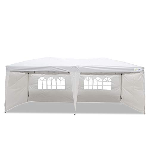 (Goutime 10x20 Ft Ez Pop Up Canopy Tent with 4Pcs 10Ft Removable Sidewalls and Wheeled Bag for Outdoor Party Events)