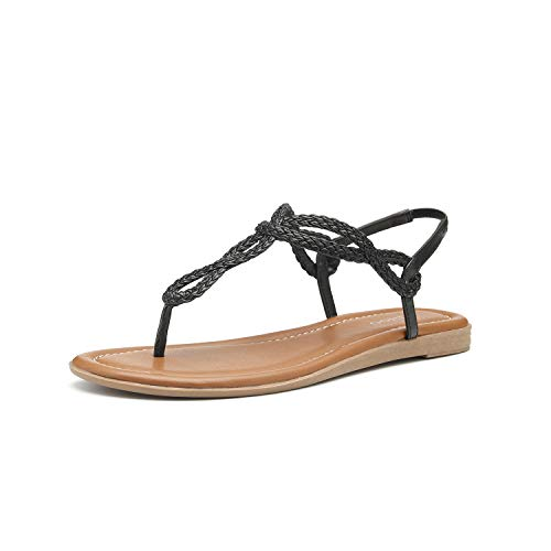Women's Braided T-Strap Sandals Slingback Flats Roman Gladiator Thongs (6, Black) ()