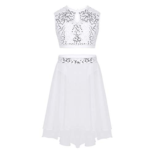 White Two Piece Dance Costumes - inhzoy Big Girls' Lace Sequins Crop